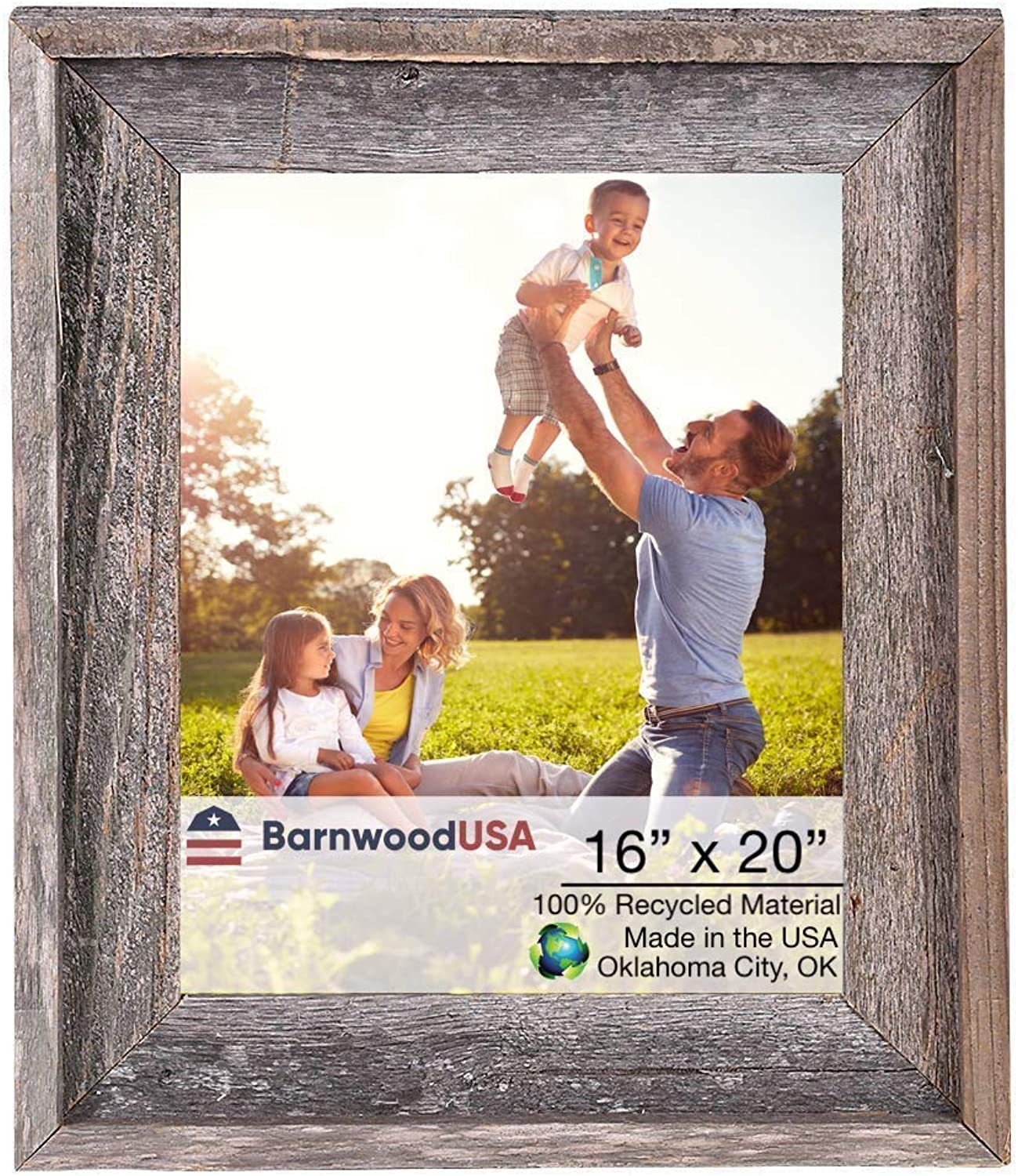 BarnwoodUSA Rustic Farmhouse Signature Picture Frame - Our 16x20 Picture Frame can be Mounted Horizontally or greenically and is Crafted from 100% Recycled and Reclaimed Wood   No Assembly Required
