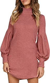 Zandiceno Women's Elegant Turtleneck Lantern Sleeve Midi Sweater Dress Casual Loose Streetwear Knit Dress