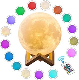 Extra Large!!! CPLA Moon Lamp 16 Colors LED Lunar Lamp Dimmable Brightness with Remote & Touch Control Large Moon Light Gifts for Love Dimeter 7.1inch