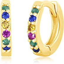 Sterling Silver or Gold Plated Rainbow CZ Small Huggie Hoop Earrings