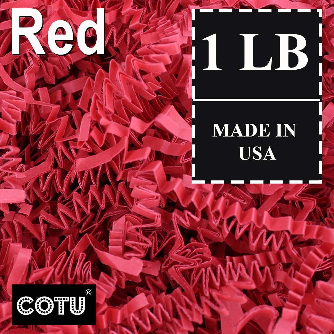 1 LB Red Crinkle Shred Gift Basket Shred Crinkle Paper Filler Bedding by COTU (16 oz)