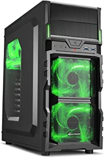 """Sharkoon VG5-W - Caja de Ordenador Gaming (semitorre ATX, iluminación y Lacado Interior Verde, Lateral acrílico, Incluye 3 Ventiladores LED, 2 bahías de 5,25""""), Negro"""
