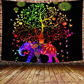 DBLLF Tree of Life Elephant Tapestry Psychedelic Wall Hanging Elephant Tapestry Good Luck Quality Home or Dorm Hippie Wall Hanging Bohemian Tapestry Decoration (80×60Inches) DBP004