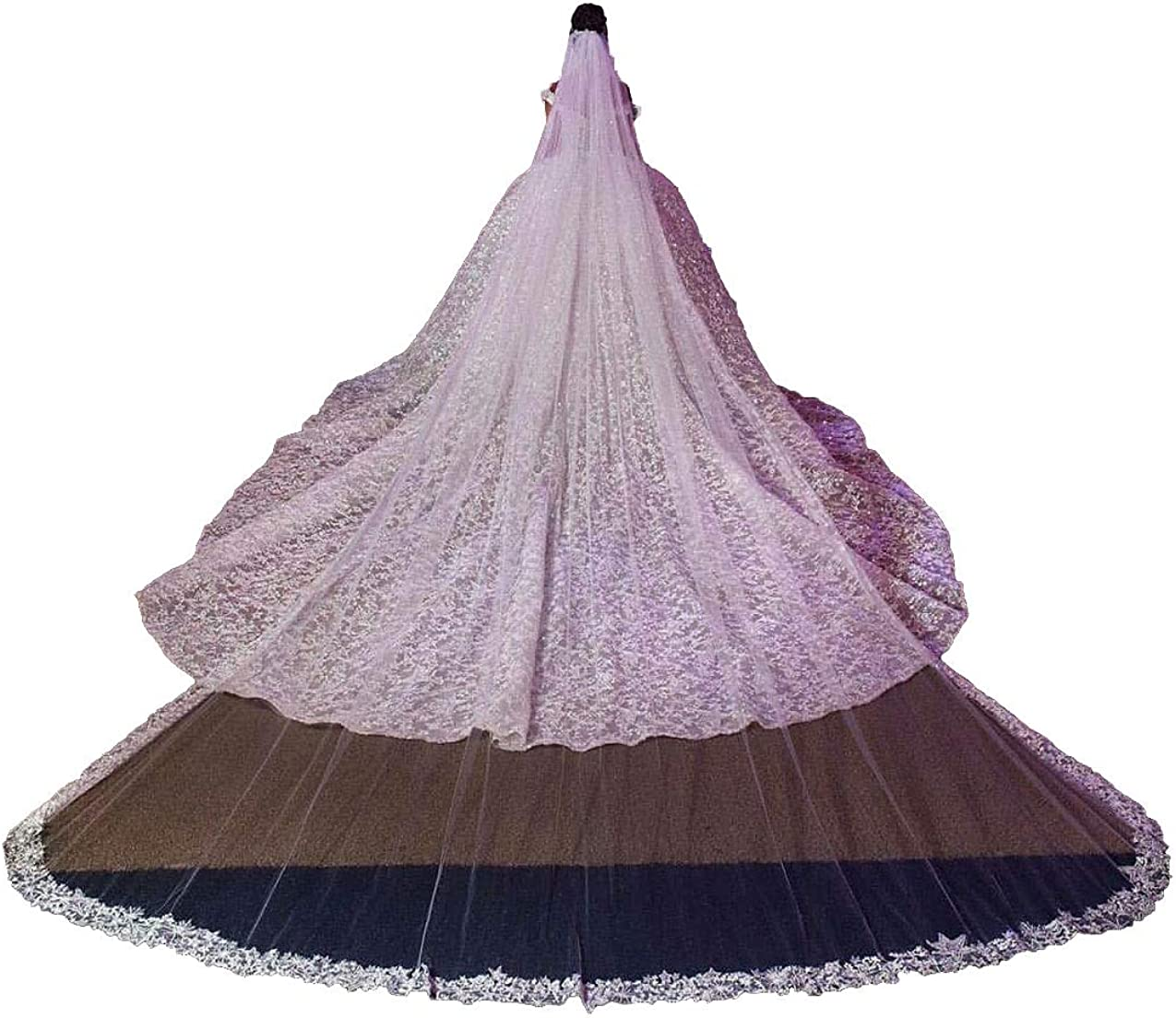 Rhinestones Cathedral Wedding Lace Veil for Brides 1 Tier with Metal Comb