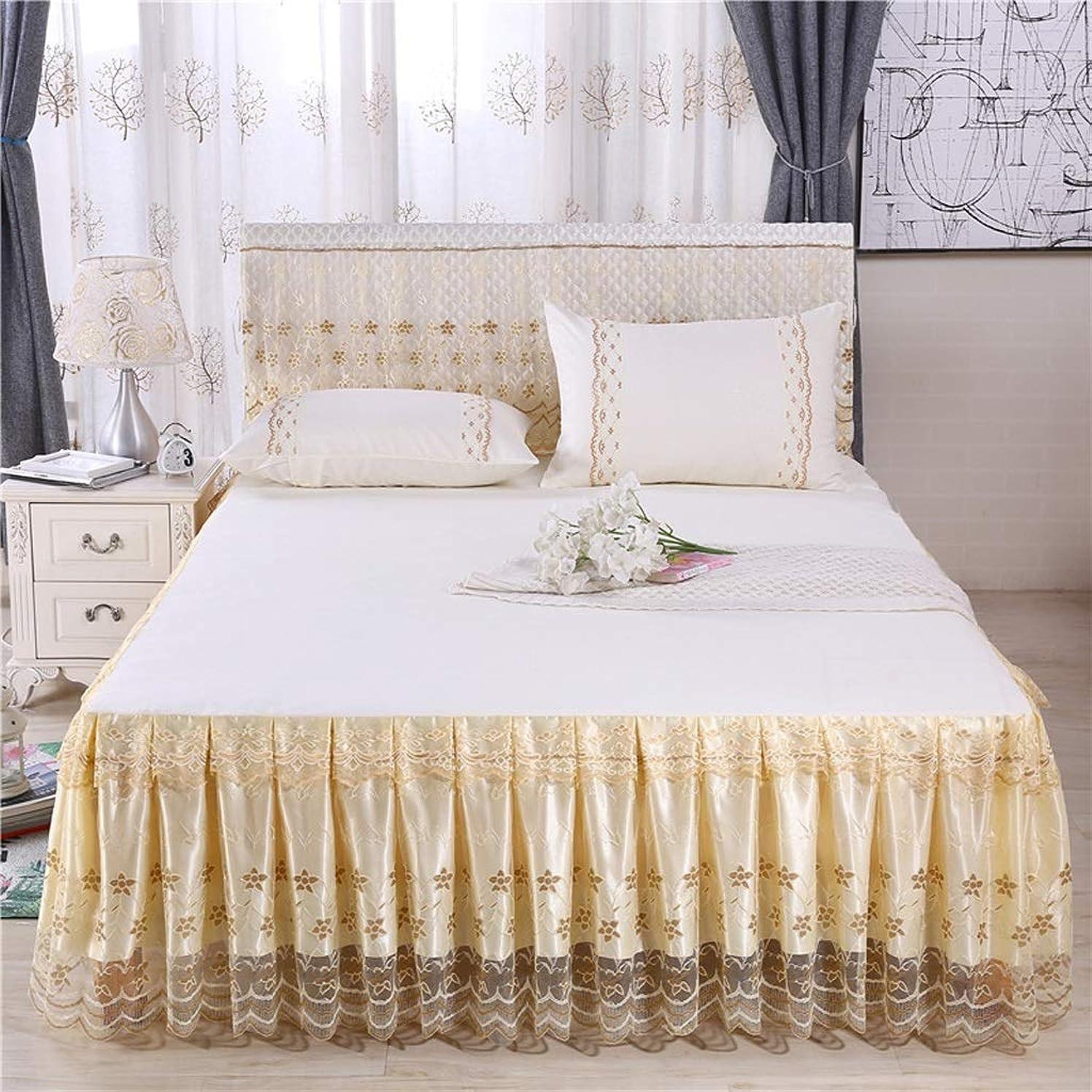 革命的拍手するボア印刷ベッドスカート寝具プリーツゴムバンド固定保護ケース - 高級ダストラッフル (色 : ベージュ, サイズ さいず : 200cmx220cm)