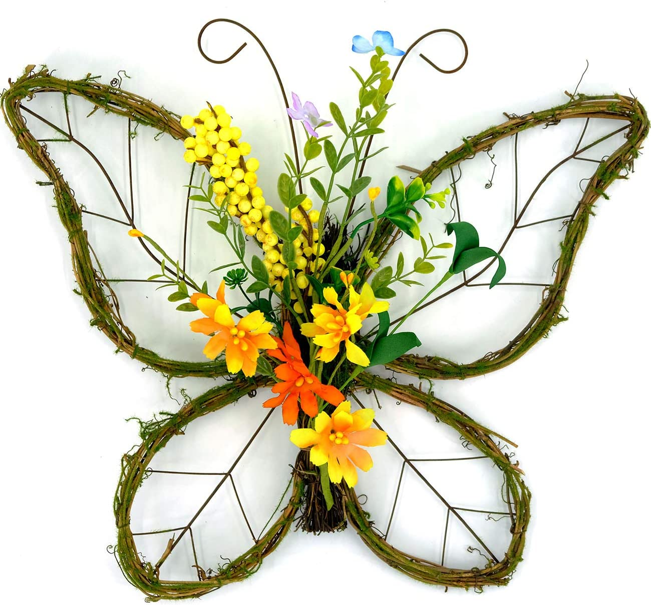 idyllic Butterfly Shaped Wreath with Pastel Berries and Floral Spring Artificial Wreaths for Front Door Decor