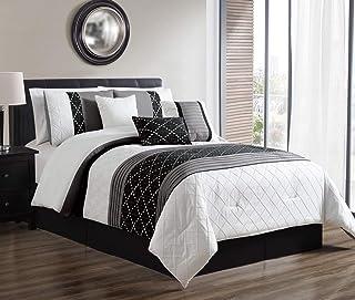 JBFF 7 Piece Oversized Luxury Bed in Bag Microfiber Comforter Set Black White (Cal King)