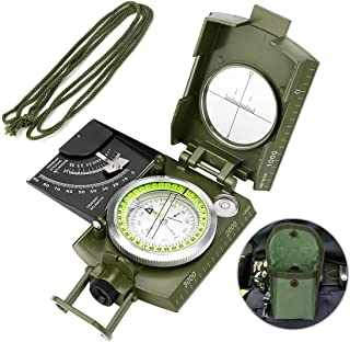 Intsun Lensatic Compass, Multifunctional Military Compass Navigation with Sighting Clinometer, Waterproof and Shockproof L...