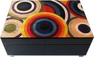 """Caja de música de madera con incrustaciones Diseño""""Círculo de colores"""""""