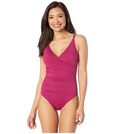 Tommy Bahama Pearl Over the Shoulder Cross Front One-Piece (Cabernet Crush) Women