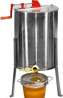 Jago® Honigschleuder – aus Edelstahl, manuell, für 4 Waben 24 x 42 cm, mit Deckel..