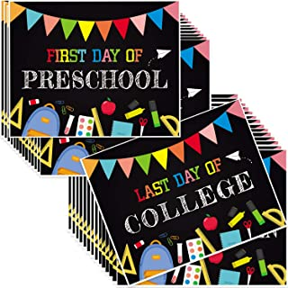 Outus 15 Pieces First and Last Day of School Chalkboard Photo Prop Signs Reusable Double-Side Back to School Photo Booth P...