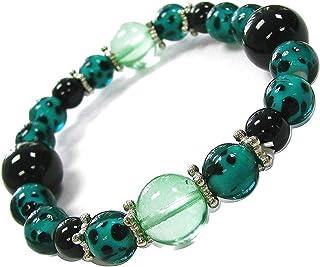 Linpeng Leopard Pattern Emerald Lampwork Beads Stretch Bracelet