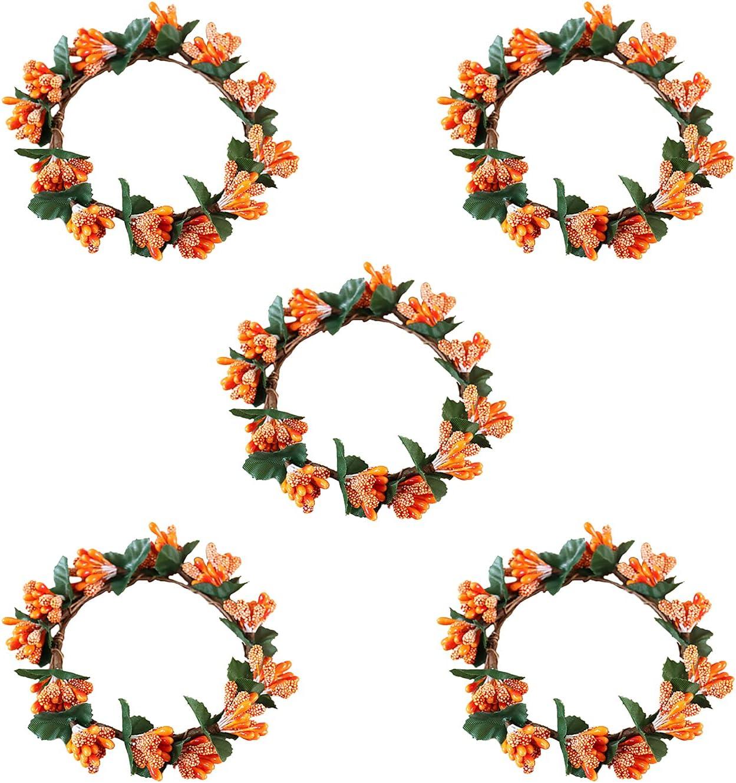 KHBNHJ Fall Candle Elegant Rings Wreath Ri trust 5 Pcs Decorative Taper