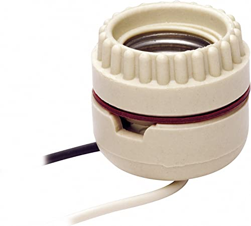 Leviton 8101 019-0-000 1-Circuit 2-Piece Keyless Lamp Holder with Tew Wire Leads, 660 W, Incandescent, Medium, White