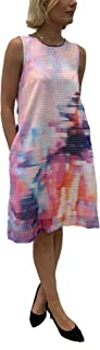Julia Jordan Women's Round Neck Sleeveless Watercolor Printed Dress