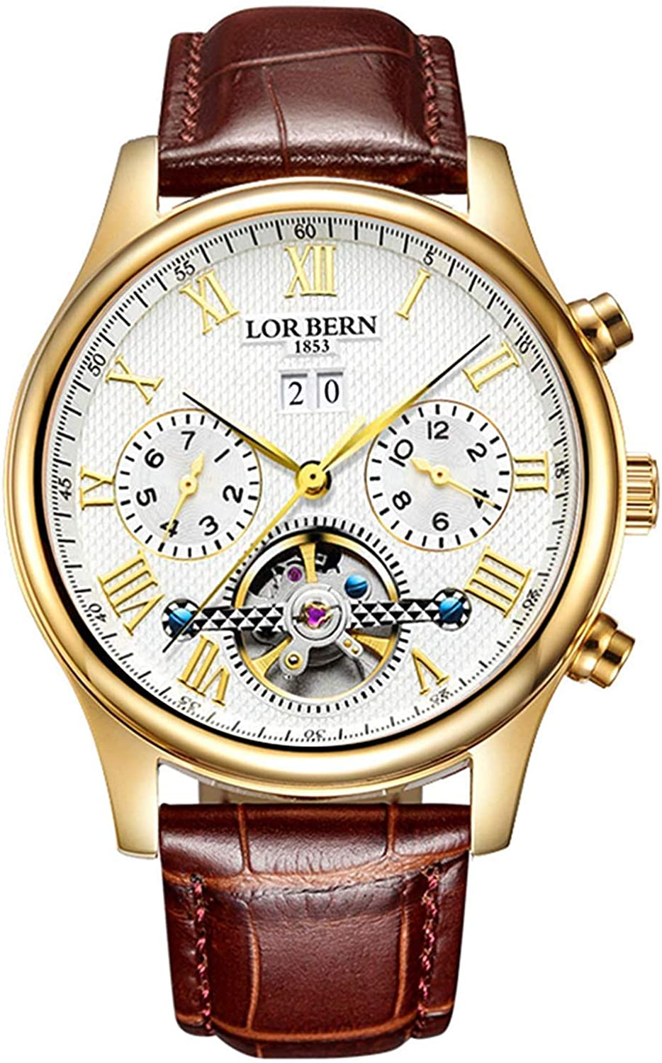 Men's Automatic Mechanical Watch Date Nippon regular agency Moon Phase El Paso Mall 24-Hour Indicat
