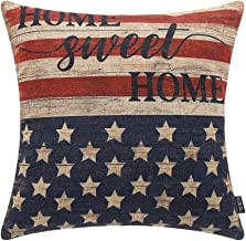 TRENDIN 18 X 18 Vintage Independence Day Gift Home Sweet Home Linen Cushion Cover Throw Pillow Case Sofa PL152TR