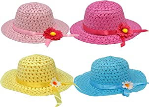 4 Girl Tea Party Hats Girls Straw Hat for Kids Costume Easter Princess Toddler Childrens Birthday Supplies in Pink Hot Pink Yellow and Aqua Colors