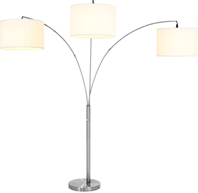Best Choice Products Home Decor 3-Light Arc Floor Lamp w/Infinite Dimming - Brushed Nickel, Woven White Shades