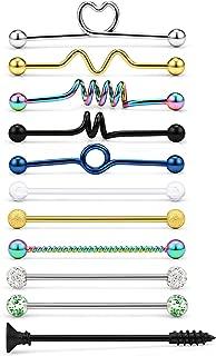 Yaalozei 11Pcs 14G Surgical Steel Industrial Barbell Earrings Arrow Screw Ball Cartilage Helix Piercing Body Jewelry for Women Men 1 1/2Inch(38mm)