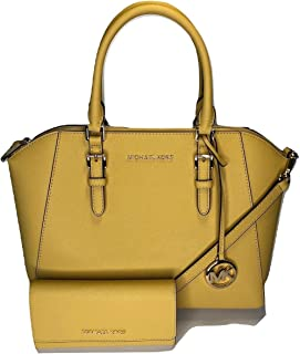 MICHAEL Michael Kors Ciara Large TZ Satchel bundled with Trifold Wallet (Dusty Daisy)