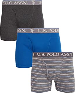 U.S. Polo Assn. Men's Cotton Boxer Briefs Underwear with Functional Fly (3 Pack)