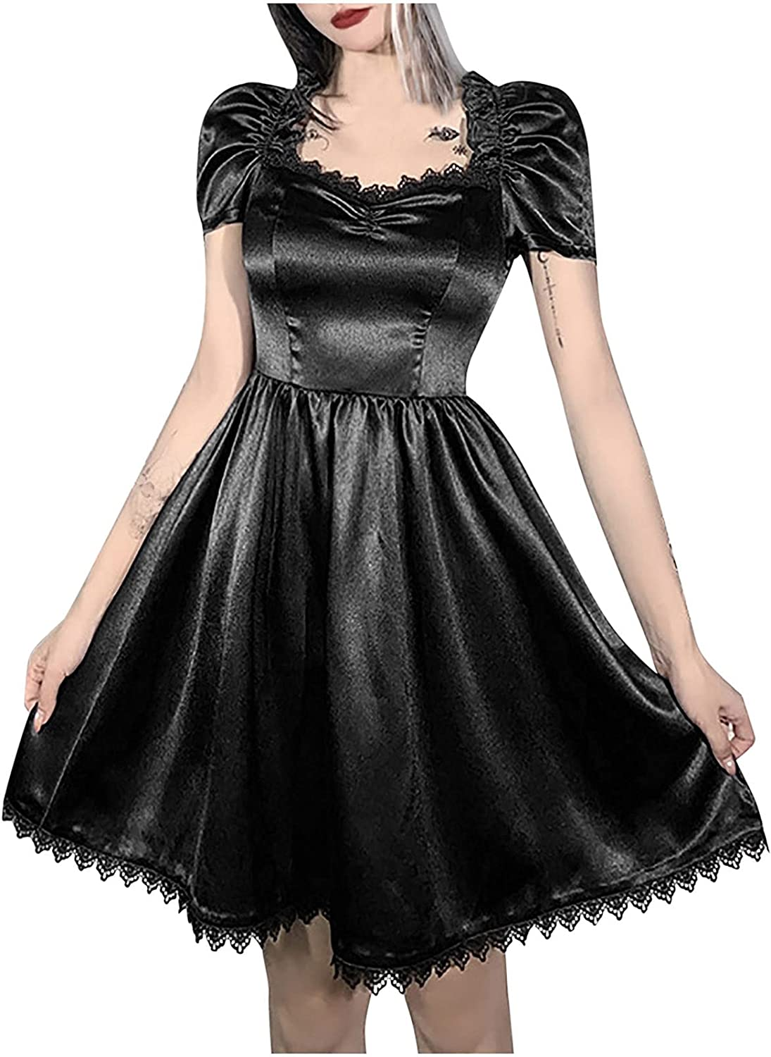 Womens Gothic Lace Puff Sleeve Dress Trendy Sexy Square Neck Short Sleeve Black Party Club Night Evening Dresses