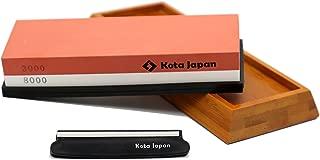 Kota Japan Combination Dual Sided 3000-8000 Grit Diamond Knife Sharpener Whetstone Set for Coarse Sharpening & Fine Polishing. Water Stone Kit | Adjustable Bamboo Holder Base | Precision Blade Guide
