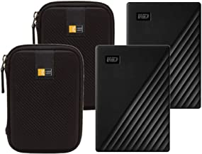 2 WD 4TB My Passport Portable External Hard Drive, Black + 2 Compact Hard Drive Cases