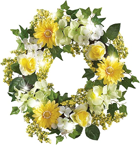 Collections Etc Spring Floral Mix Pre Light 17 Door Wreath Green