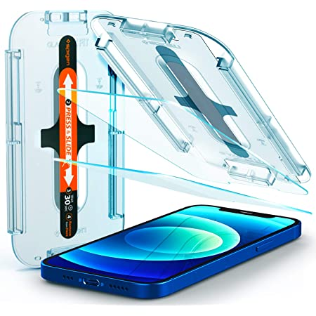 Spigen Tempered Glass Screen Protector [Glas.tR EZ Fit] designed for iPhone 12 (2020) / iPhone 12 Pro (2020) [Case Friendly] - 2 Pack