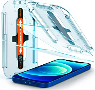 Spigen Tempered Glass Screen Protector [Glas.tR EZ Fit] designed for iPhone 12 (2020) / iPhone 12 Pro (2020) [Case Friendl...