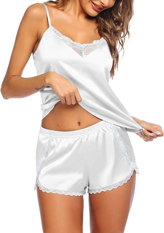 WUAI Women's Sleepwear 2 Piece Satin Silk Pajamas Spaghetti Strap Lace Trim Cami Shorts Set Sexy Lingerie Nightgown