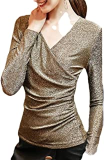 Women's Long Sleeve Cross V-Neck Fashion Top Tee Shiny T-Shirt