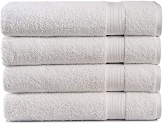 Cotton Cozy 100% Cotton Indulgence 600 GSM Luxury Large Oversized Bath Towels, Set of 4 (30 X 54 Inches), Amercian Construction, Soft, Highly Absorbent, Machine Washable, White