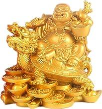 Laughing Buddha- Feng Shui Laughing Buddha Statue Maitreya Figurine Home Office Car Decoration Gift (Bronze)