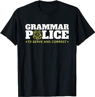 Grammar Police Officer Funny Badge Halloween Costume T-Shirt