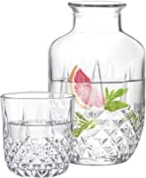 Bamesi Bedside Water Carafe with Glass Set – Glass Carafe 16 oz / Cup 4.5 oz - Bedside Carafe Pitcher and Cup - Night...