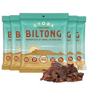 Ayoba Biltong - Grass Fed, Keto and Paleo Certified Air-Dried Beef Snack - Better Than Jerky Tender Steak Cuts - Whole 30 Approved, No Sugar, Gluten Free, No Nitrates (5 Pack, Convenient 1 Ounce Bags