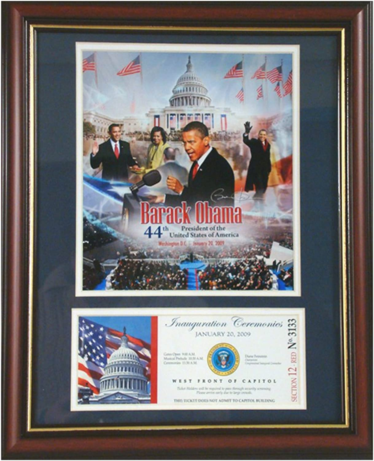 Barack Obama Photograph with Commemorative Lanyard in an 11  x 14  Deluxe Photograph Frame