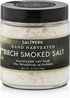 Saltverk Birch Smoked Sea Salt, 3.17 Ounces of Handcrafted Gourmet Salt Flakes from Iceland
