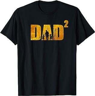 Homme Papa au pouvoir de 2 père avec 2 enfants Papa rétro T-Shirt
