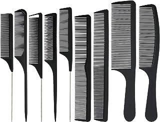 Xgood 9 Packs Black Comb Carbon Fine Cutting Comb Carbon Fiber Hair Styling Combs Hairdressing Comb Heat Resisitant Teasin...