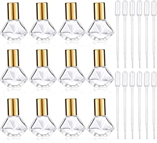 12 Pieces 8 ml (0.27 oz) Clear Roller Bottles DIY Essential Oil Roller Bottle Glass Cosmetic Containers and 12 Pieces Plastic Dropper for Essential Oils Perfumes Aromatherapy (Golden)