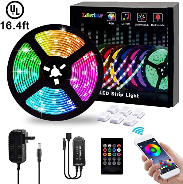 LED Strip Lights L8star 5M 16 4ft Flexible Strip Light SMD 5050 RGB With Bluetooth Controller Changing Tape Lights Kit With LED Sync To Music For TV Bedroom Kitchen Under Counter Under Bed Lighting