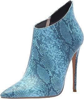 MisaKinsa Women's Snakeskin Print Stiletto High Heel Ankle Boots Zipper