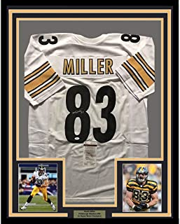 Framed Autographed/Signed Heath Miller 33x42 Pittsburgh White Football Jersey JSA COA