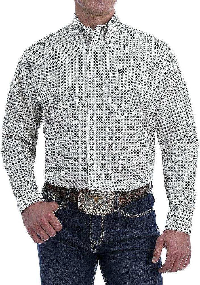 Cinch Men's White Medallion Geo Print Long Sleeve Western Shirt