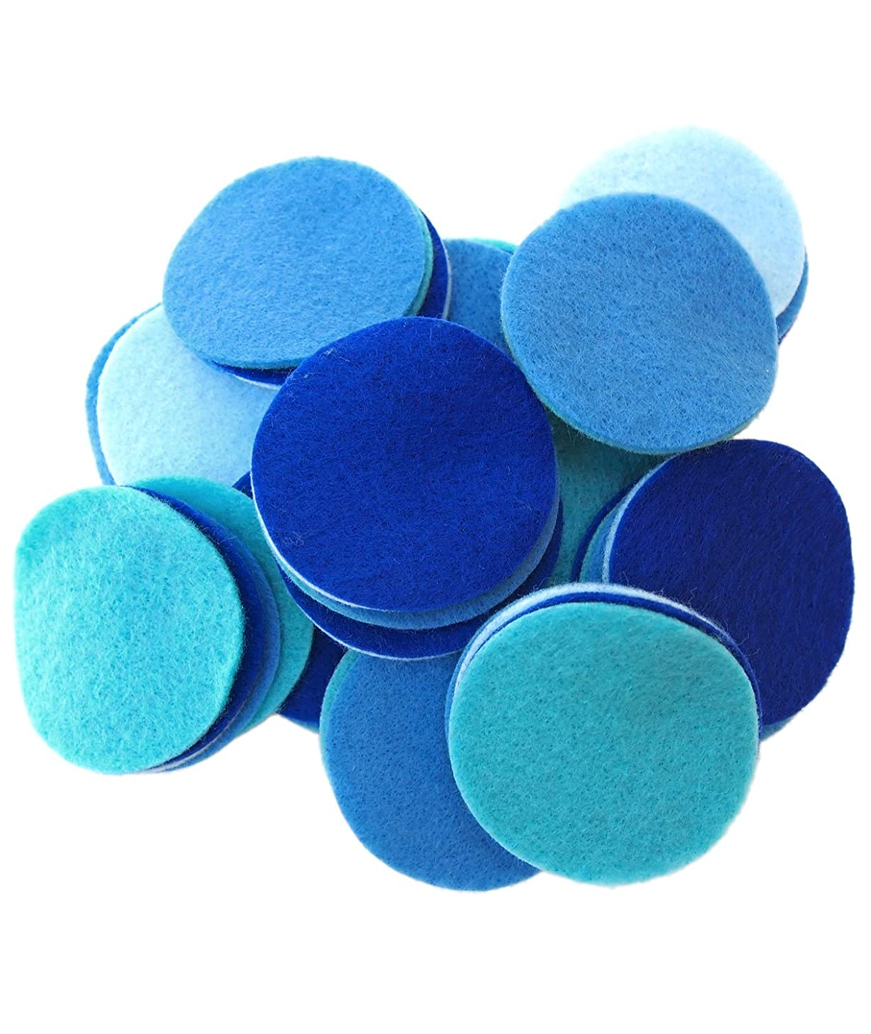 Playfully Ever After 2.5 Inch 48pc Felt Circles Color Combo Pack with Blue, Turquoise, Light Blue, Militia Blue